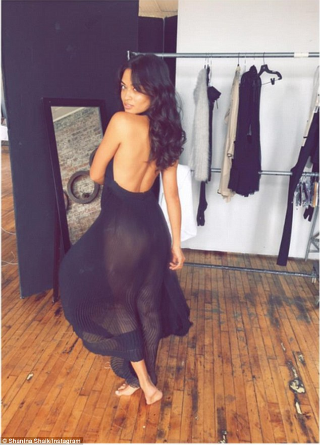 Pert in pleats: Shanina Shaik posted an image that left little to the imagination on Instagram page on Thursday