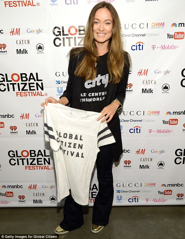 Advocate: Olivia Wilde looked radiant as she attended the 2015 Global Citizen Festival launch party at Milk Studios in New York City on Wednesday