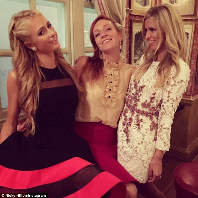 Fun night out! Nicky later shared a snap from inside the restaurant as the sisters let down their hair just two days ahead of her wedding