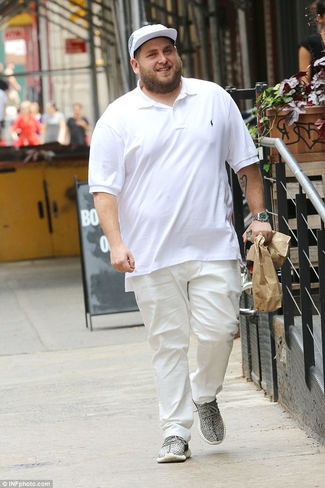 Healthy appetite: Jonah Hill, 31, popped out to pick up some lunch near to his apartment in New York City on Wednesday