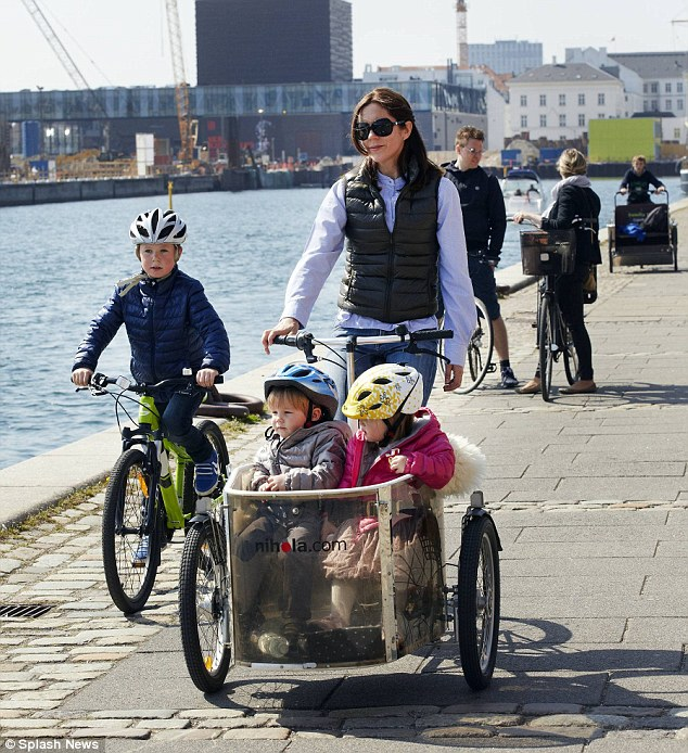Typical sighting: Mary has previously been seen ferrying her children around the Danish capital in the Nihola Family Cargo Bike, which sells for around $4,800