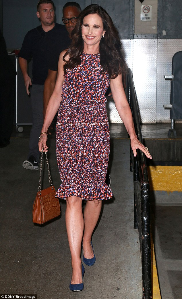 On to the next one: On Wednesday Andie was also spotted wearing a bright polka dot dress for her appearance at HuffPost Live