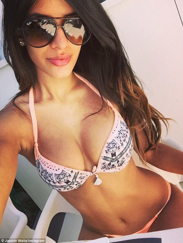 In great shape: She was just picked to front a new lingerie and swimwear campaign so it is no surprise Jasmin has been posting multiple bikini shots