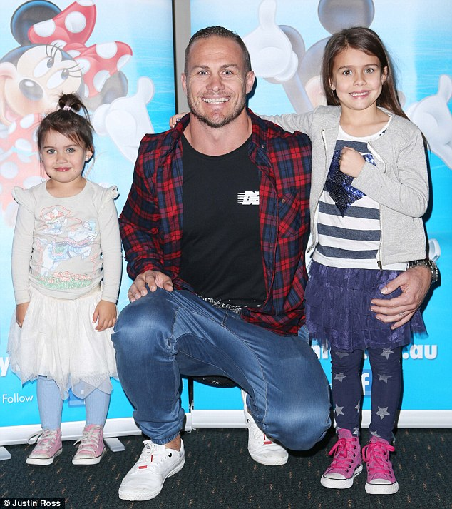 Proud father! Matt Cooper arrived with his daughters Starr and Indie