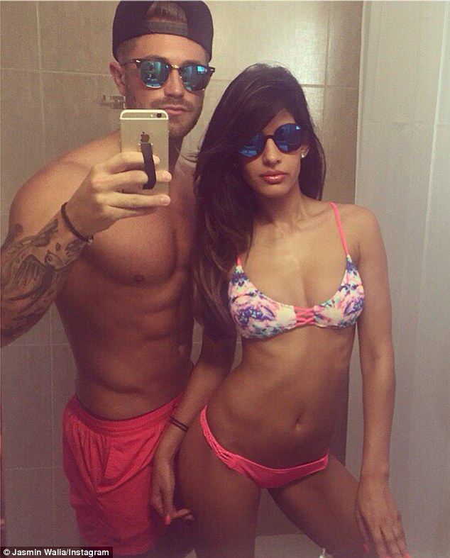 Selfie lovers: Jasmin Walia and boyfriend Ross Worswick have been posting multiple shots from their trip to Cyprus