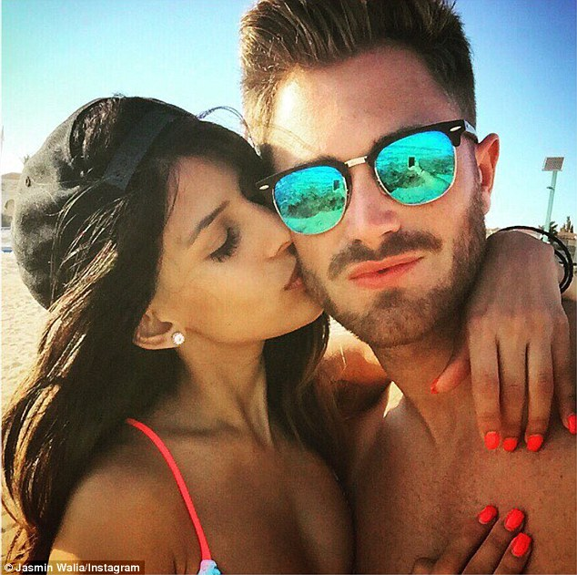 Kisses:Jasmin showed love to her hunky boyfriend as she captioned one of the snaps saying: 'Always making memories with this one!'