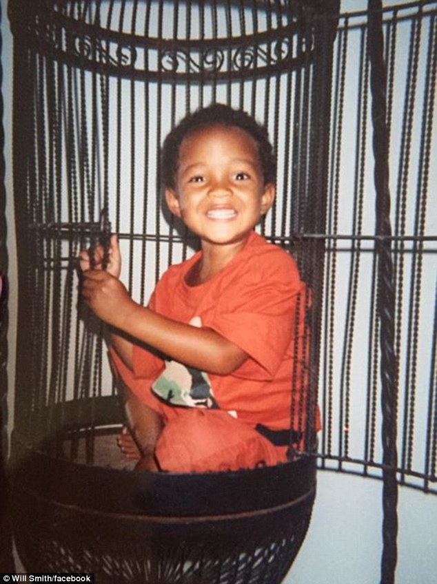 Birthday boy: Will Smith posted a birthday message on Facebook on Wednesday to his son Jaden and included a throwback photo of his son in a birdcage