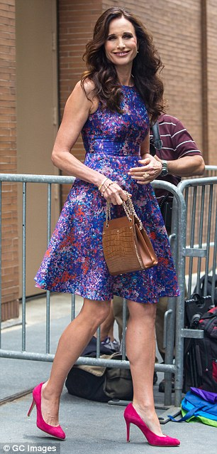 Twice as nice: Andie MacDowell looked stunning in New York City on Wednesday as she stepped out in two colorful dresses to promote her role in Magic Mike XXL