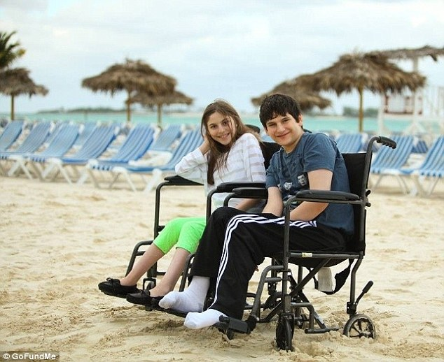 Telling their story: The family went public about their struggle this year, when they entered a competition to win a $63,000 handicap-accessible van. Above, Racheli (left) and Tzvi (right) Herzfeld