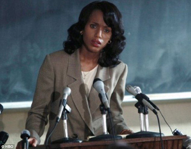 Getting serious: Confirmation stars Kerry Washington as Anita Hill, the attorney who sued Supreme Court nominee Clarence Thomas, played by Wendell Pierce, for sexual harassment in 1991