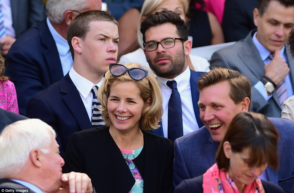 Star-studded box: Darcey sat just in front of young British actor Will Poulter for the semi-final action
