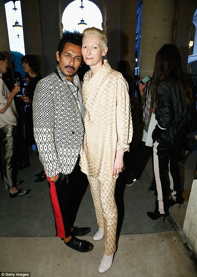 Special guest: Tilda dined with Haider at the mytheresa.com dinner at Haute Couture fashion week
