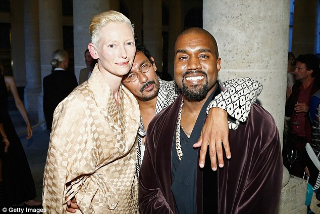 Fashion friends: Kanye West (right) hung out with Tilda Swinton (left) and designerHaider Ackermann atLe Grand Vefour dinner in Paris on Tuesday night