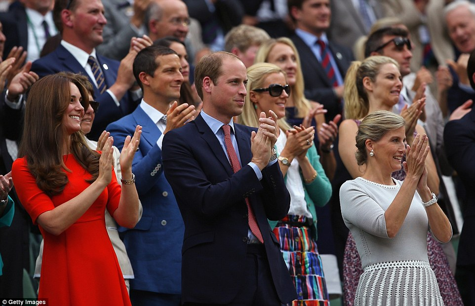 The Duchess of Cambridge, Prince William and Sophie, Countess of Wessex applaud as Andy Murray wins his Gentlemen's Singles Quarter Final match against Vasek Pospisil of Canada