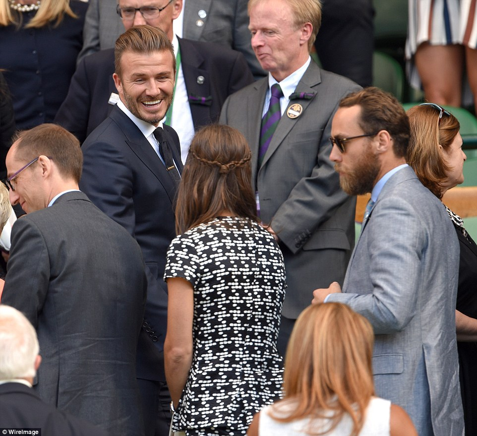 Fancy seeing you here! David stopped to chat to Pippa and James Middleton as they were also in the Royal Box