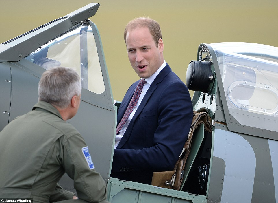 Prince William looked right at home in the newly restored Supermarine Spitfire Mark I N3200