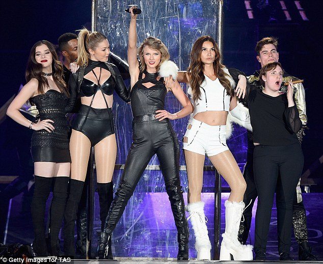 Model star: The leather ensemble, which boasted cut-out detail and a structured bodice, coordinated a scantily-clad Gigi, who showed off her lean and slender frame in a skimpy bra and high-waisted pants getup