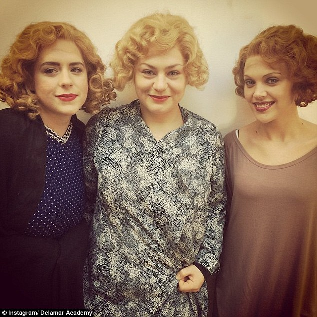 Isabella (left) wrote on Delamar Academy Instagram page, 'Our blonde trio from the Period Hair and Make-up class rocking 1930s glam!'