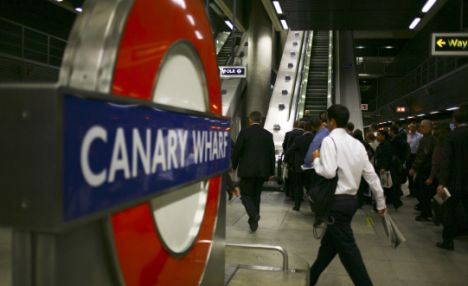 Workers in Canary Wharf tube station