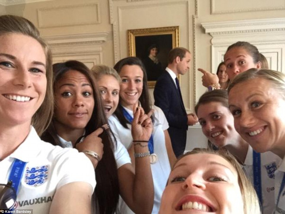 Busy day: As reward for their heroics, the England Women's Football team were invited to meet the Duke of Cambridge for breakfast croissants earlier on Thursday. Clearly still in high spirits from their triumphant World Cup performance, the women tweeted out a comical snap of Prince William 'photobombing' them