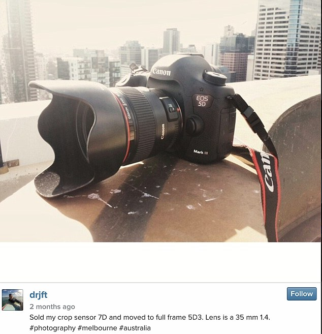Mr Grundy noticed that Wilson had posted a picture on Instagram boasting about 'his' new Canon 5D Mk III and Canon 35mm 1.4L, which bore striking resemblance to his missing equipment