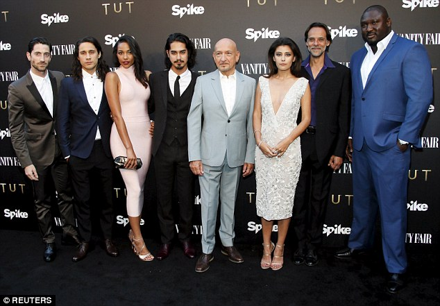 Stellar line-up: The cast of Tut pose at the party to celebrate its imminent launch, L-R Iddo Goldberg, Peter Gadiot, Kylie Bunbury, Avan Jogia, Sir Ben Kingsley, Sibylla Deen, Alexander Siddig and Nonso Anozie