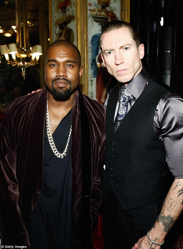 Well dressed: Kanye hung out with mytheresa.com buying directorJustin O Shea in a suitably stylish get up