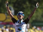 MUR DE BRETAGNE, FRANCE - JULY 11:  Alexis Vuillermoz of France and AG2R La Mondial Team celebrates victory as he crosses the finish line to win stage eight of the 2015 Tour de France, a 181.5km stage between Rennes and Mur de Bretagne on July 11, 2015 in Mur de Bretagne, France.  (Photo by Doug Pensinger/Getty Images)