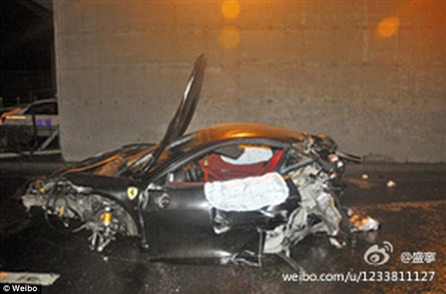 Tragedy: There is a much darker side to this extreme wealth and in 2012, Ling Gu, the son of high-ranking government died after crashing his Ferrari 458 Spider (pictured) in Beijing