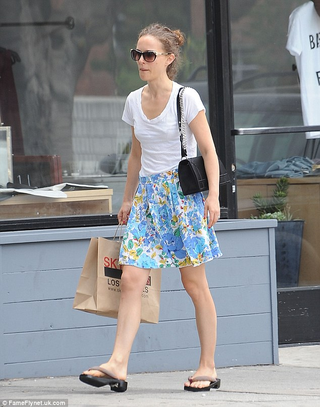 Down time: The Black Swan star dressed in casual clothes for a shopping trip in Los Feliz in June
