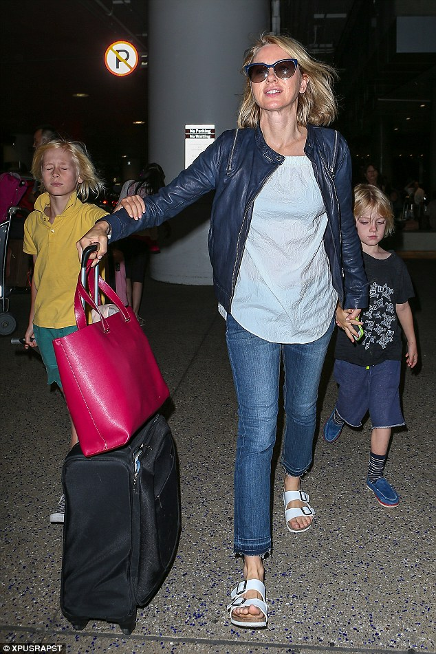Happy to be home: The actress is now based in LA with her partnerLiev Schreiber and their two children