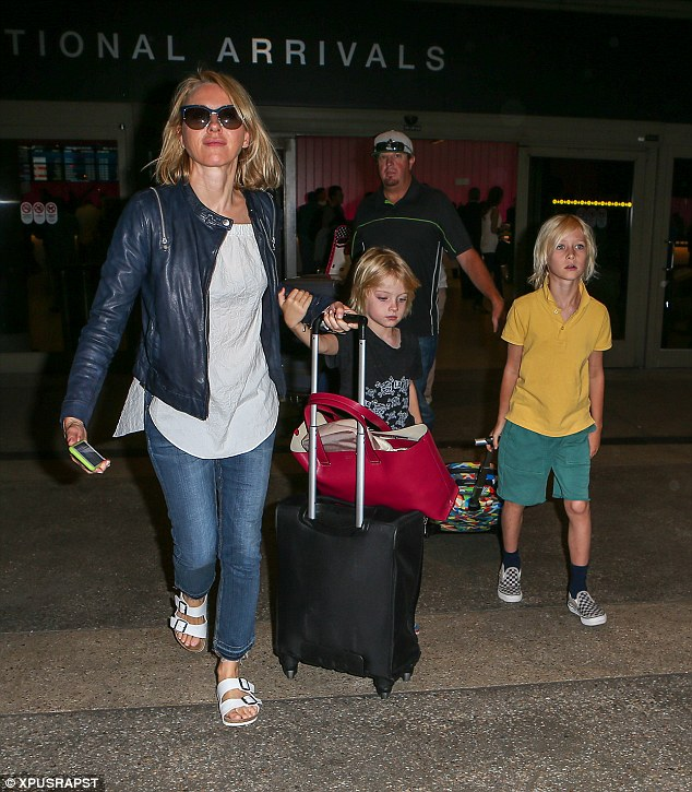 Jetset lifestyle: The trio were on their way back from France after spending time with Liev in London