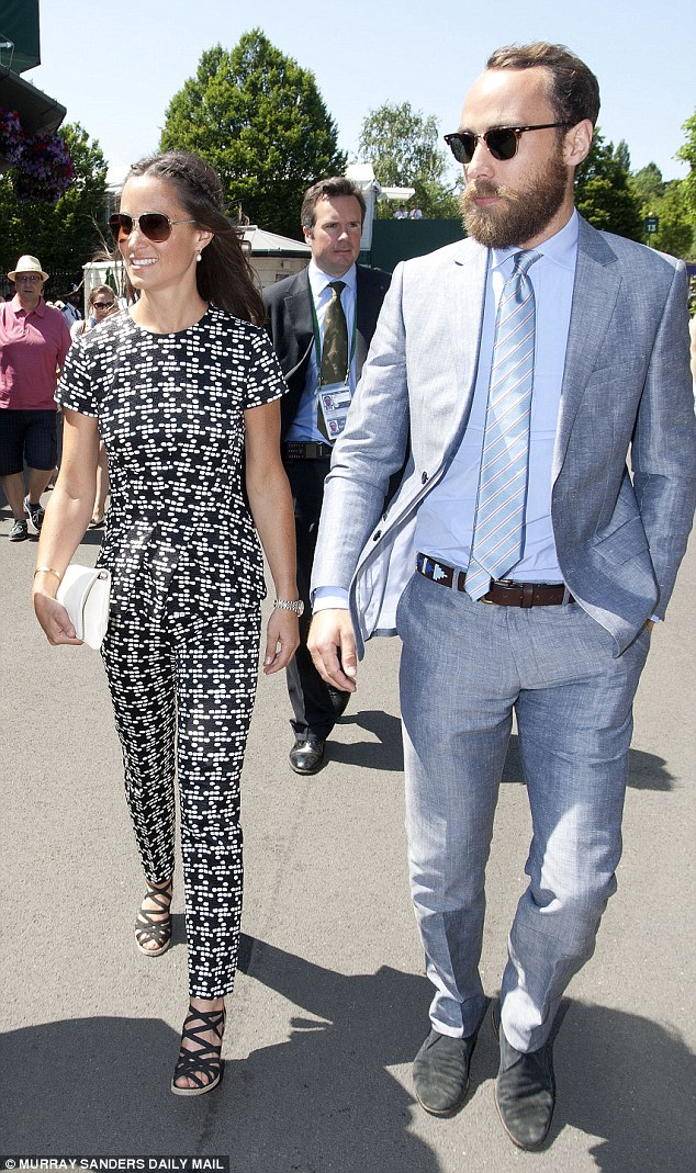 Pippa Middleton arrived with brother James at Wimbledon for their second day this year