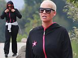 UK CLIENTS MUST CREDIT: AKM-GSI ONLY EXCLUSIVE: Amber Rose seen during a workout with her personal trainer on Mulholland Drive in Hollywood Hills. The fashion model quickly covered her head with her hoodie when she saw the camera before she started her jump roping and sit ups after a long hike in the Hollywood Hills.  Pictured: Amber Rose Ref: SPL1075160  090715   EXCLUSIVE Picture by: AKM-GSI / Splash News