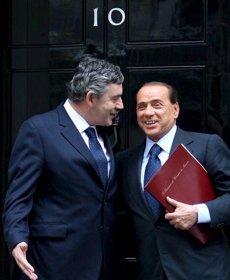 Brown and Italian Prime Minister Berlusconi
