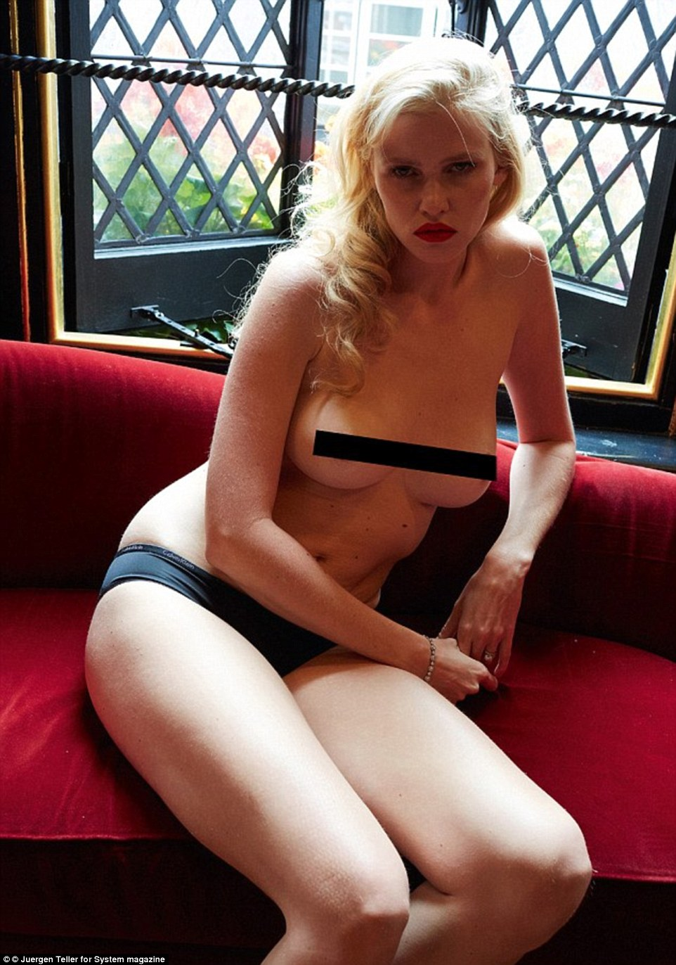 Less is more: Juergen recently photographed Lara Stone for the magazine after she had given birth in the same gritty style