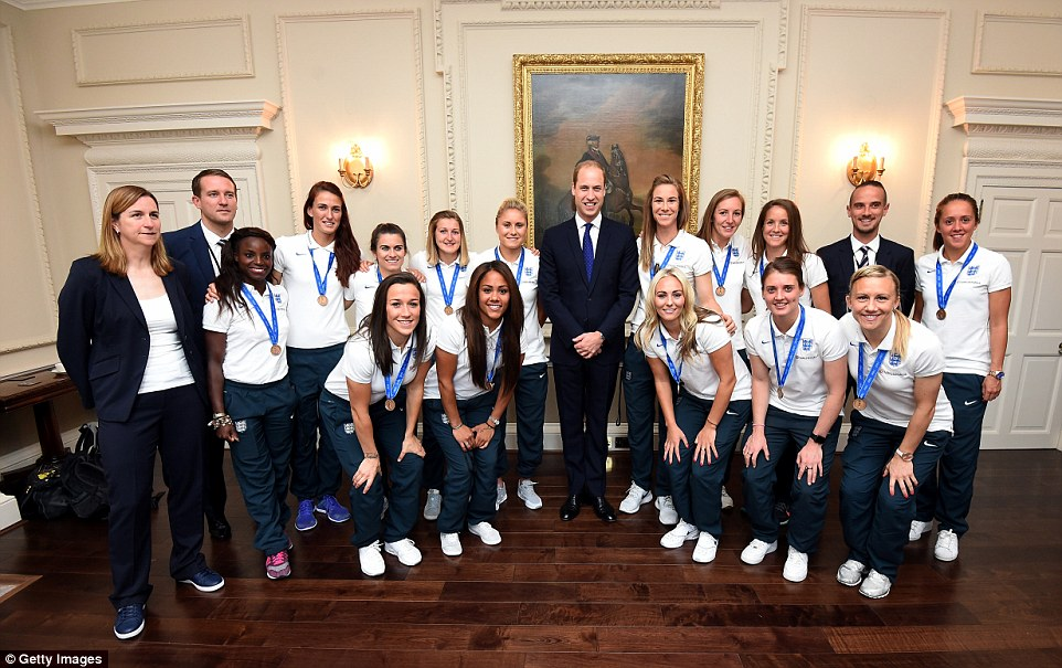 Strike a pose: Prince William met the England women's football team team during a breakfast reception at Kensington Palace - a reward for their efforts abroad