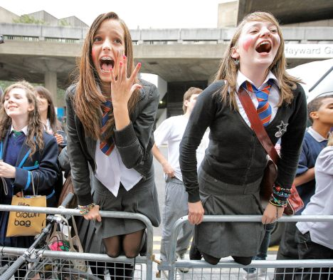 Schoolgirl crush: A besotted fan shows her feelings