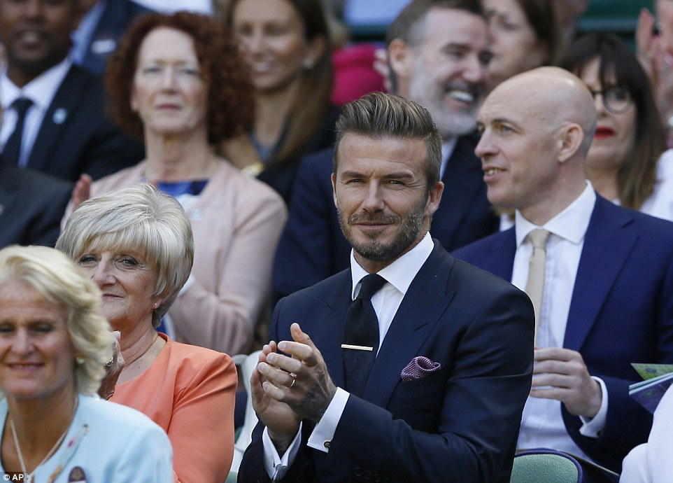 Round of applause: David and Sandra joined a packed court for the anticipated match as the second week reaches its climax