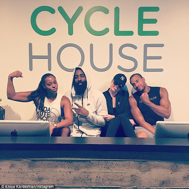 Spending the day together: Khloe and James also took a cycling class together that same day