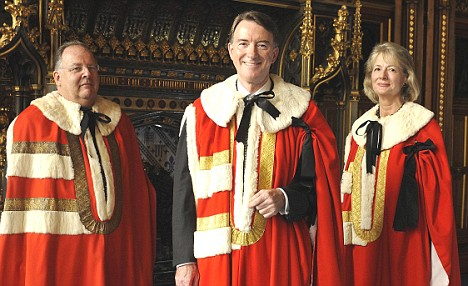 Recent honours: Peter Mandelson is introduced to the House of Lords as Lord Mandelson,of Foy in Our of Herefordshire and of Hartlepool in Our County of Durham