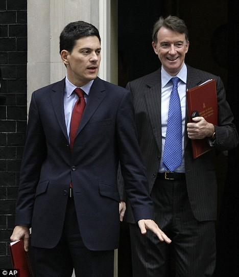 Peter Mandelson with Foreign Secretary David Miliband outside Downing Street