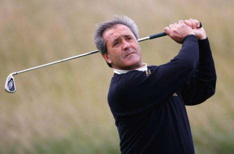 captain of the European Team, plays a tee shot during the Pro-Am for the Seve Trophy 2007 held at The Heritage Golf and Country Club on September 26, 2007 in Killenard,