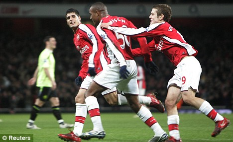 Arsenal's Jay Simpson and Jack Wilshire