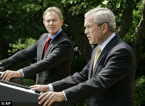 BFFs no more? Tony Blair glances at Mr Bush during a White House address in 2007