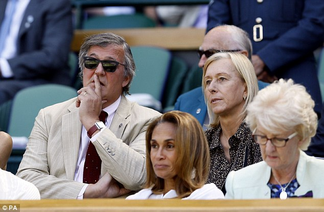 Also in attendance was Stephen Fry sat next to tennis legend Martina Navratilova, in front of the Middletons
