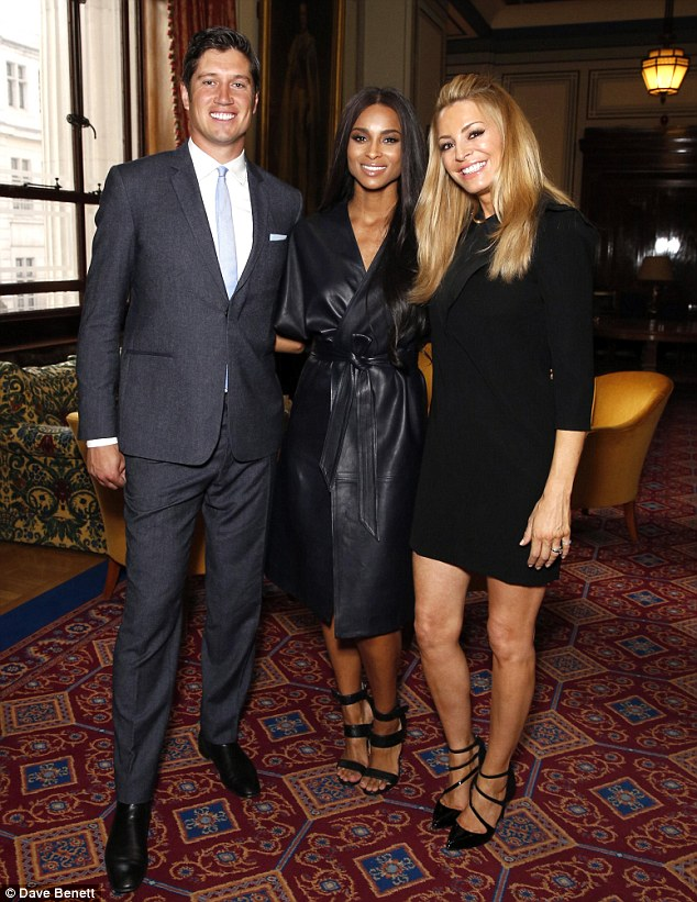 Say cheese: Ciara posed for a photo with married TV presenters Vernon Kay and Tess Daly