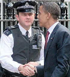 How ya doin'? As he strode towards the stpes of No 10, Obama shook the hand of a surprised policeman