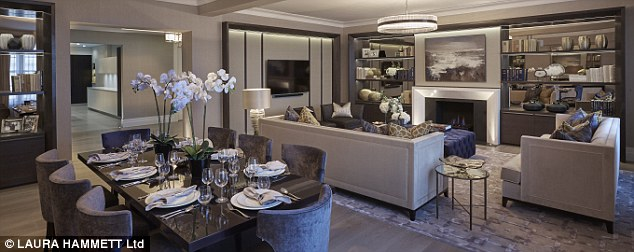 Plush: The 2,400 sqft flat has a huge entrance hall, opulent living and dining areas with original sash windows and bespoke carpentry - and comes complete with antique mirrored furniture