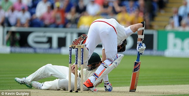 The Australia fieldsman clattered through Broad to get the ball in his attempt to take the catch